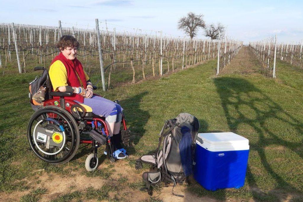 Zugang von Oben mit Rollstuhl zum Felsklettern, März 2020