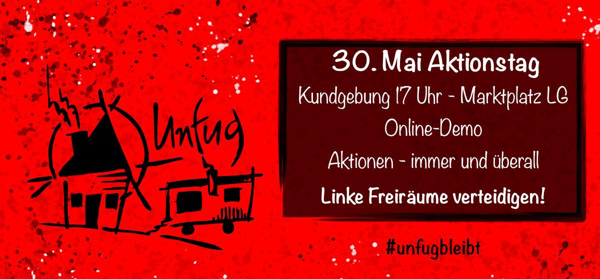 Bild Aktionstag mit Unfug Logo und Kundgebungstermin 30.5.