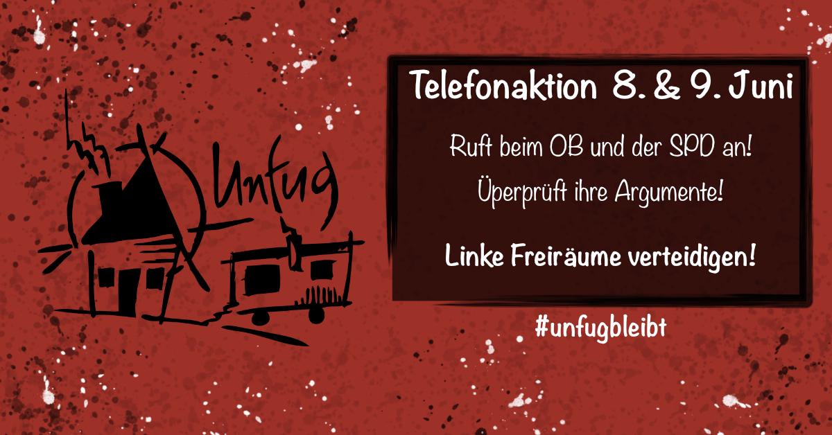 #UnfugBleibt ruft zu Telefonaktion am Montag, den 8. und Dienstag, den 9.6.2020 auf.