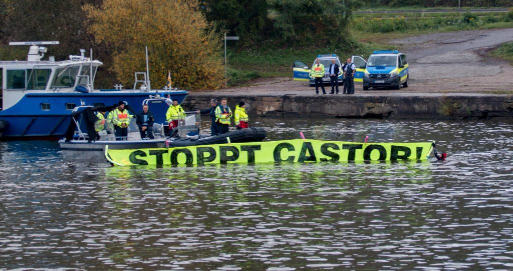 Wasserprotest gegen den Neckar CASTOR-Transport, Oktober 2017