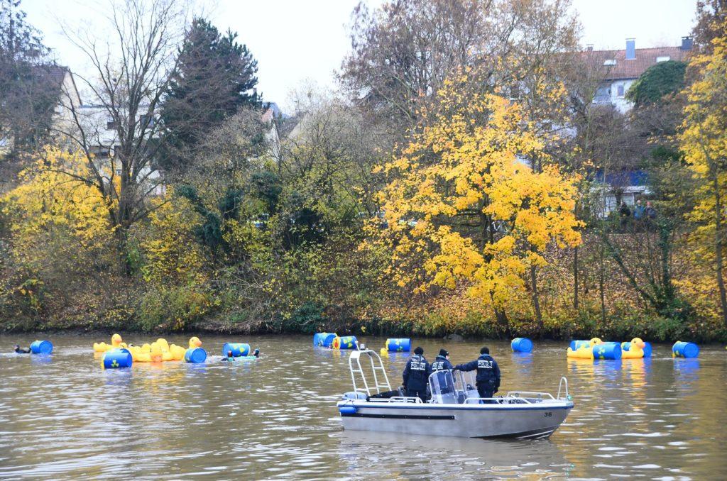 Wasserprotest gegen den Neckar CASTOR-Transport, November 2017