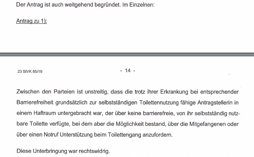 Unterbringung in einem nicht-barrierefreien Raum war rechtswidrig, so LG Stuttgart