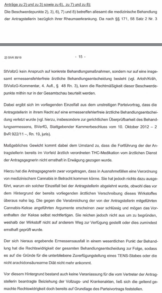 LG Stuttgart zur medizinischen Versorgung im Gefängnis