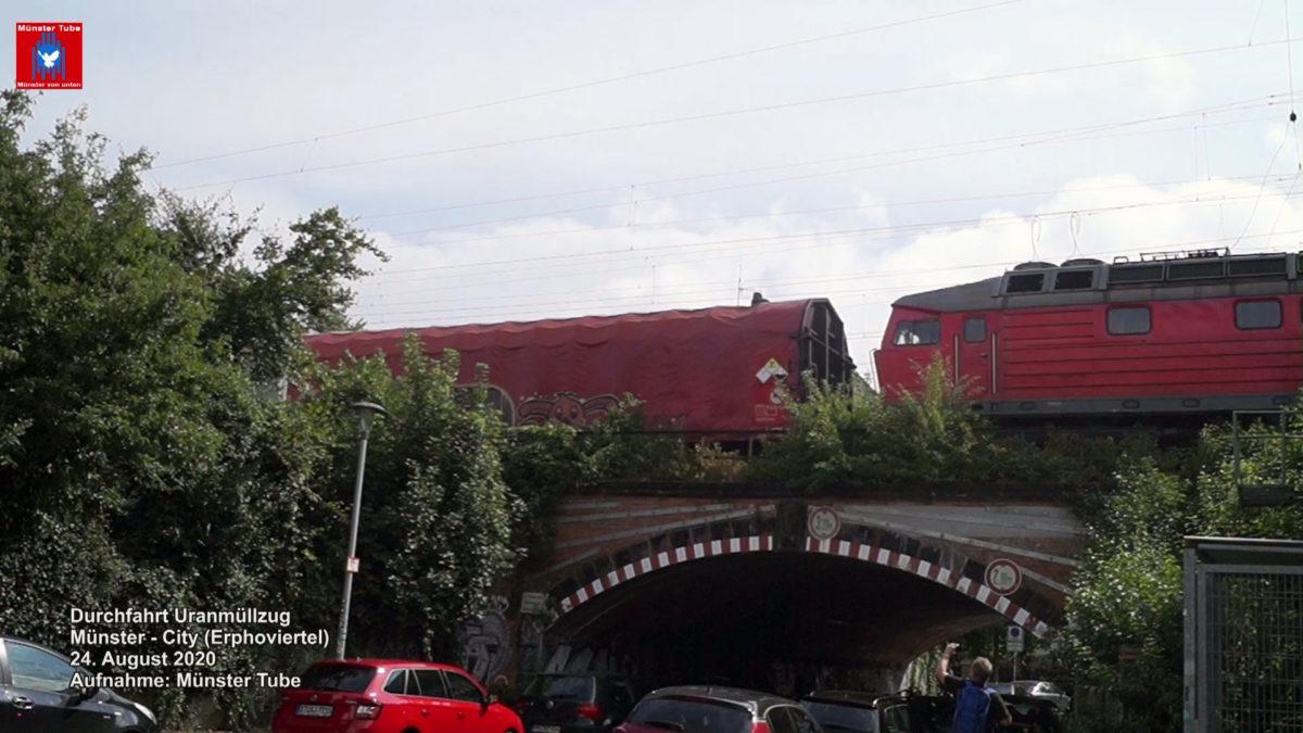 Waggons mit Uran auf einer Brücke in Münster am 24.08.2020