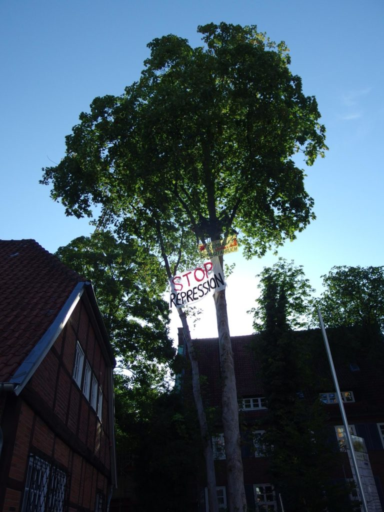 Protest im Baum am Amtsgericht