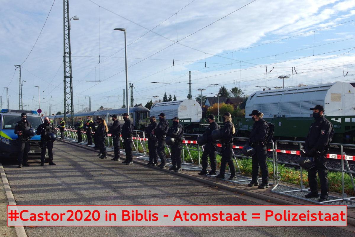casror transport in Biblis am Bf mit viel Polizei davor