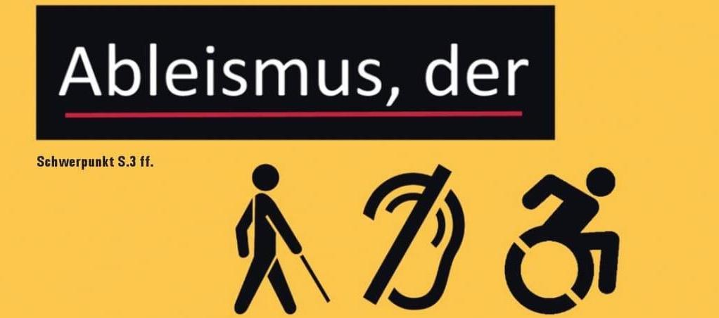 """Sieht wie im Duden aus Überschrift """"Abelismus, der"""" unten sind Logos für Rollstuhlfahrende, Schwerhörige und Blinde."""