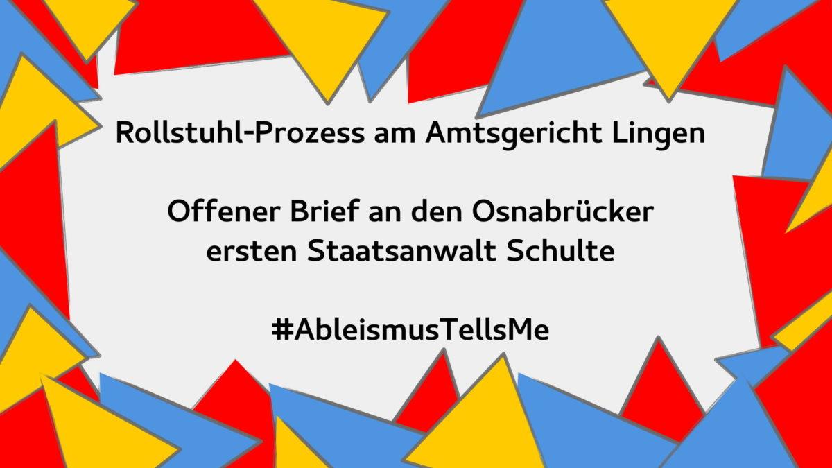 Offener Brief an die Osnabrücker Staatsanwaltschaft #AbleismTellsMe