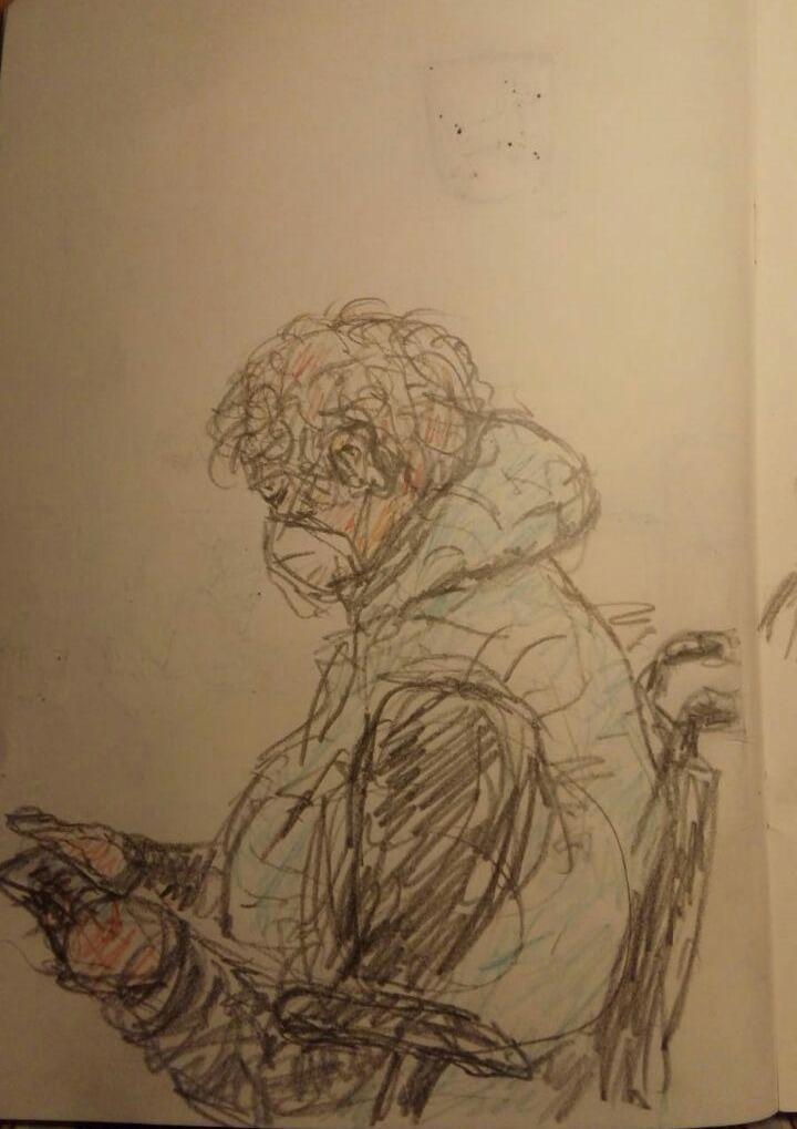 Zeichnung von Peter Pintatis - Person mit MNS im Rollstuhl