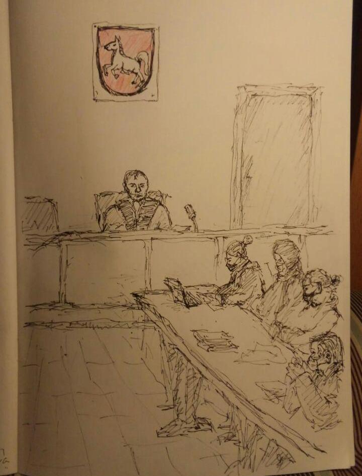 Zeichnung - Anklagebank, Richter und Niedersachsen Wappen