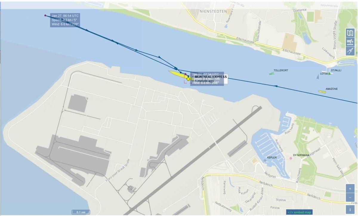 Karte des Hafensterminal mit Polistion des Schiffes