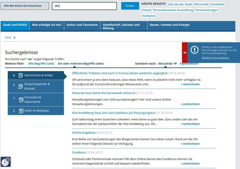 Screenshot der Homepage der Hansestadt zum Begriff WC, nur 1 Treffer zu einer PM, mehr nicht