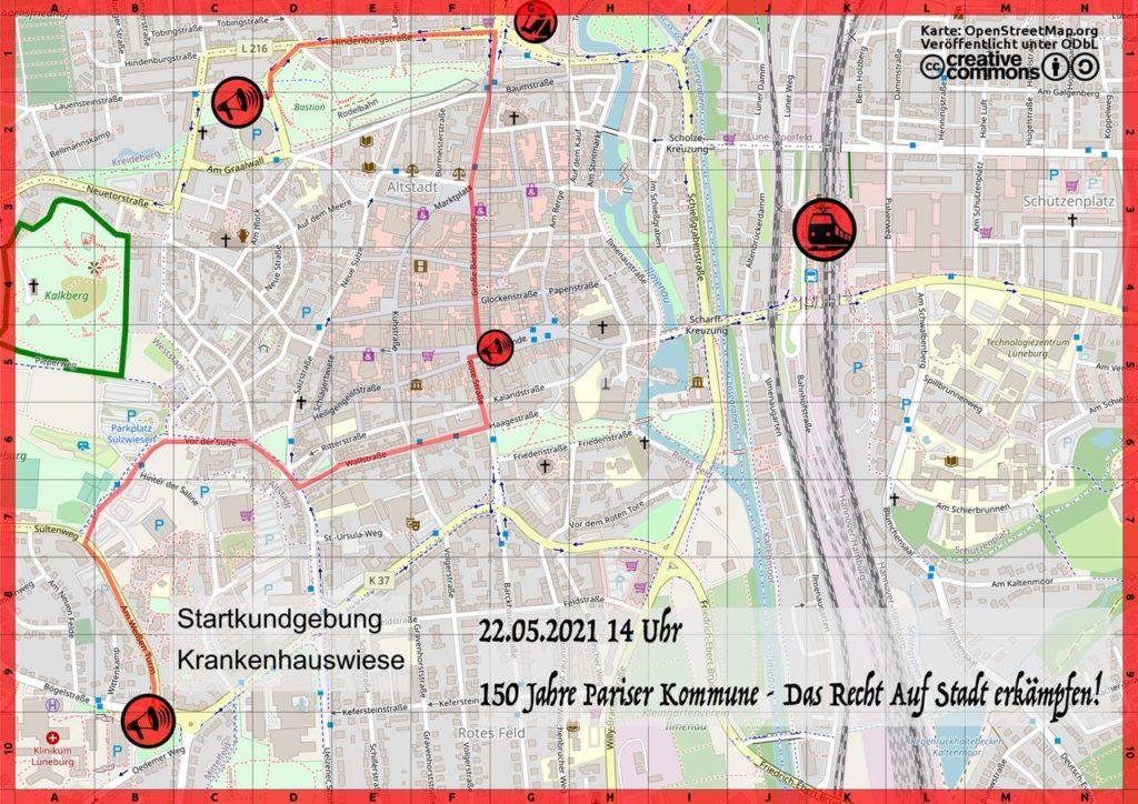 Stadtplan mit der Demoroute